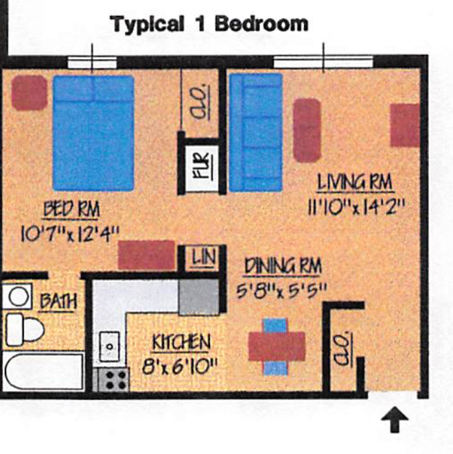 Mark Royal 1 Bedroom Floorplan